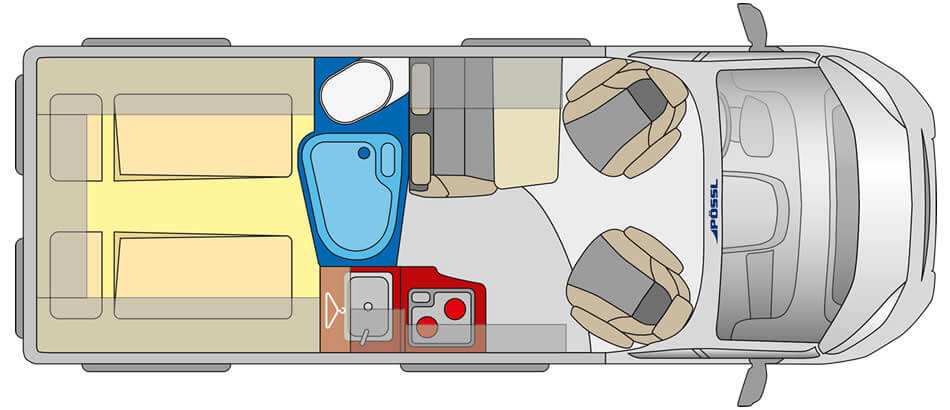 jack possl roadstar 600L interior layout campervan for hire